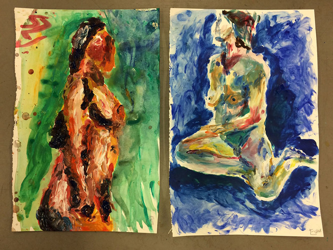 1 Finger painting a model in acrylic, sm