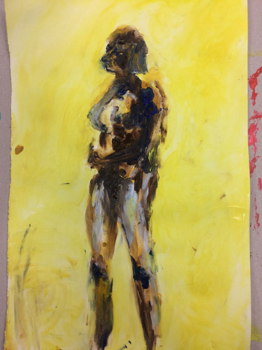 2 Model painting with acrylic and finger