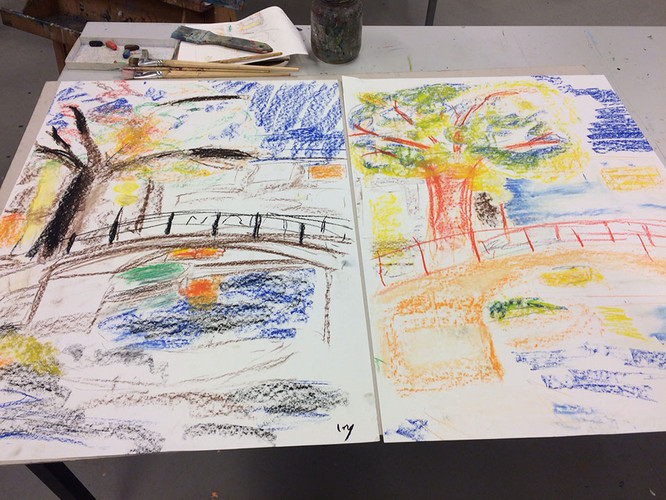 3 Sketching a tree outside, then making