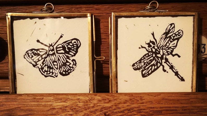 Dragonfly and butterfly small gilt frames