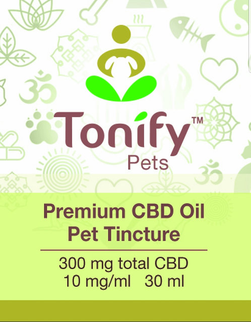 Tonify Pets - Premium CBD Oil Pet Tincture - 300mg total CBD - 30ml