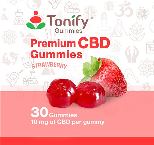 Tonify Premium CBD Vegan Gummies - 10mg of CBD per gummy - 30 Ct - Strawberry