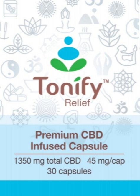 Tonify Relief - Premium CBD Infused Capsules - 1350 mg total CBD - 30 Caps