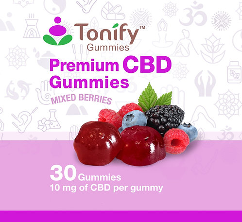 Tonify Premium CBD Vegan Gummies - 10mg of CBD per gummy - 30 Ct - Mixed Berries