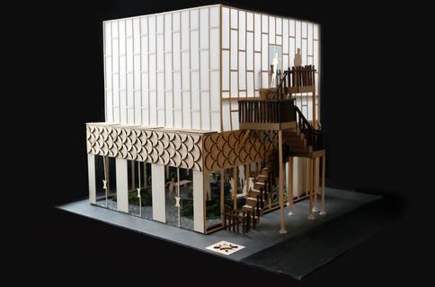 quarter view of building model