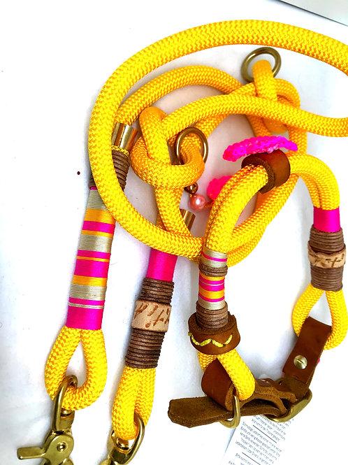 Yellow Leine 1.4m + halsband 40-45cm