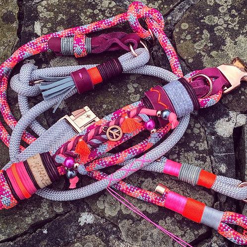Pink Hippie 40-49cm + 2.1m Leine