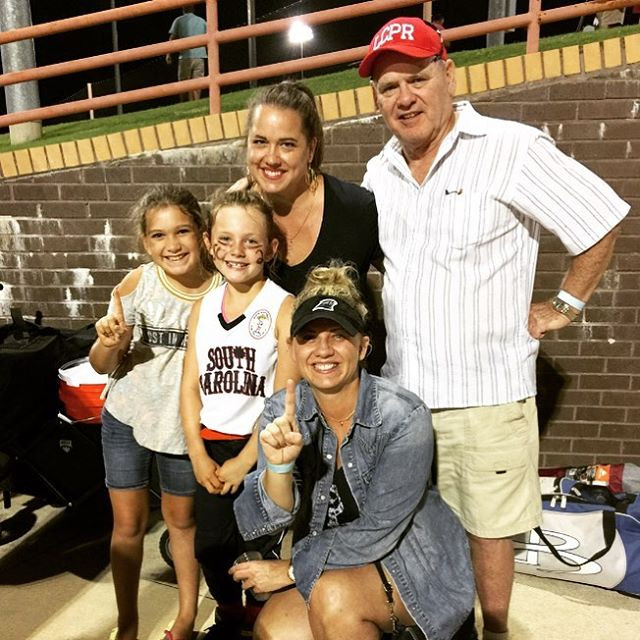 My Dad, my sister Sonja with Ella and Lilly after the win!