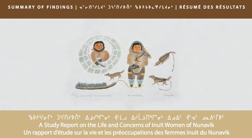 Page titre du Rapport d'étude sur la vie et les préoccupations des femmes inuit du Nunavik