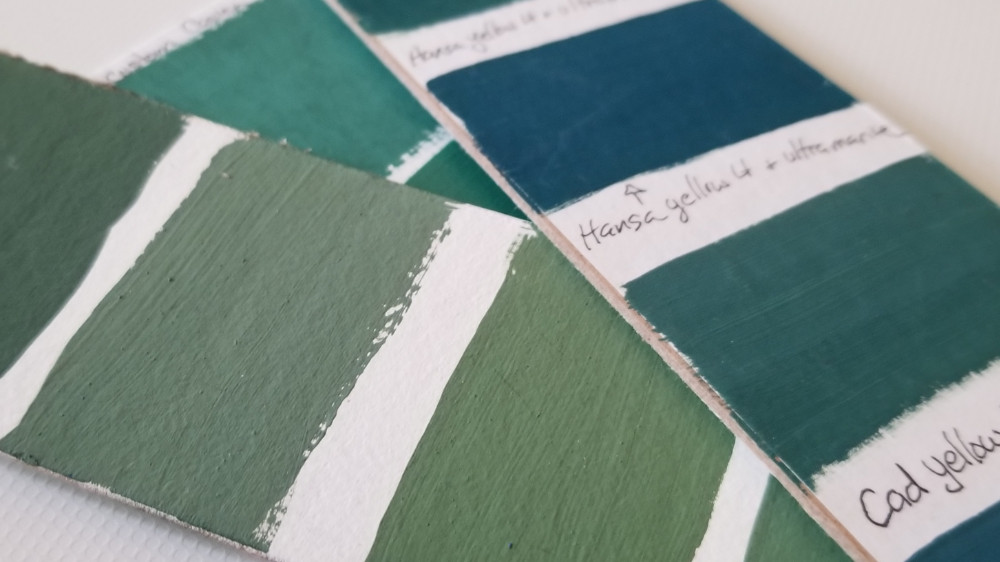 Hand painted color samples for a client.