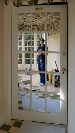 Laura Linett Stenciling a Floor