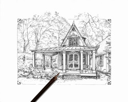 Bittersweet Cottage in Ink