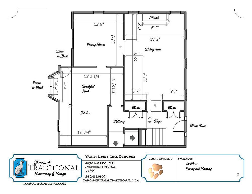 A clients floor plan showing various measurements.