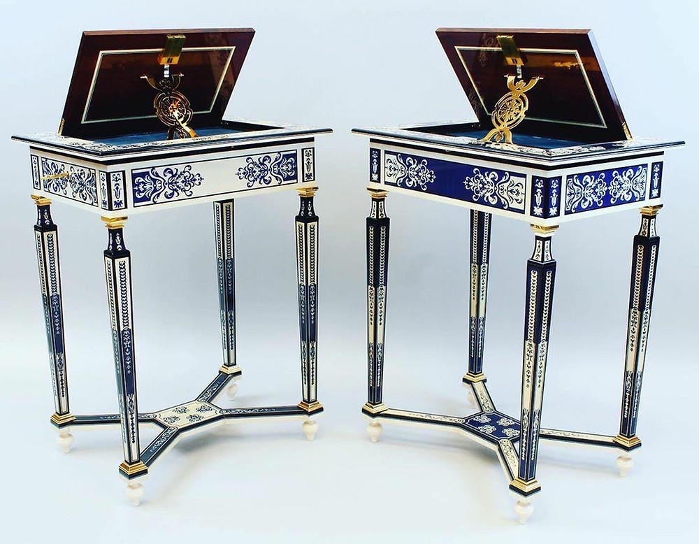 Beautiful blue and white hand carved and inlayed museum quality tables by artist Aaron Radelow