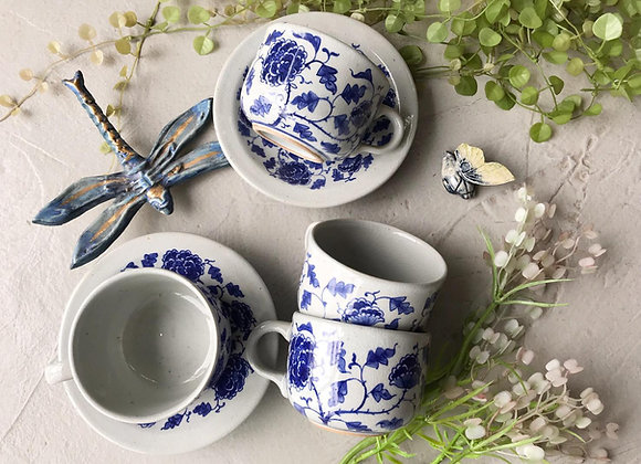 Peony Blue Coffee Cup