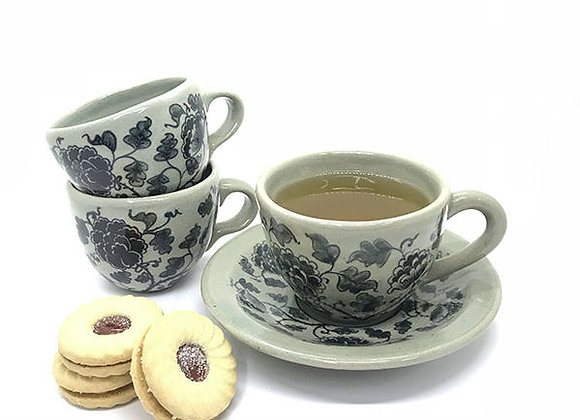 Celadon Floral Cup