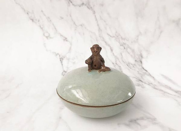 Celadon Trinket Container With Monkey Holder