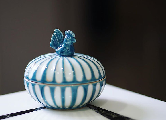 Rooster Blue Ceramic Box