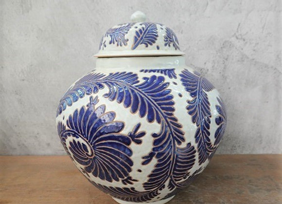 Blue White Fern Jar