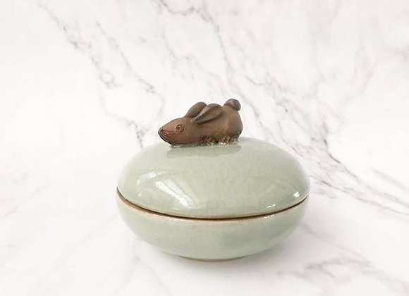 Celadon Trinket Container with Rabbit Holder