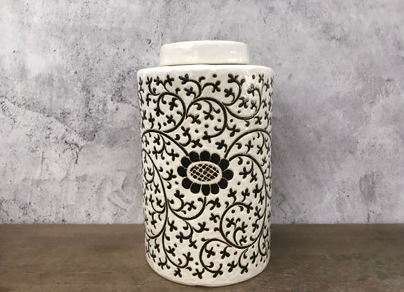 Black floral vines tea caddy
