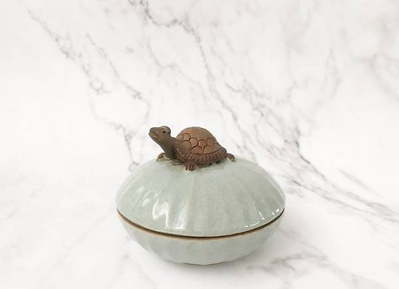 Celadon Trinket Container With Turtle Holder