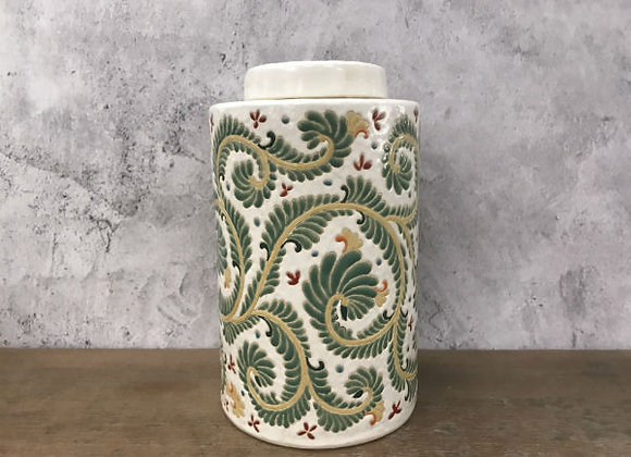 Fern floral vines tea caddy