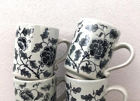 Peony celadon mug