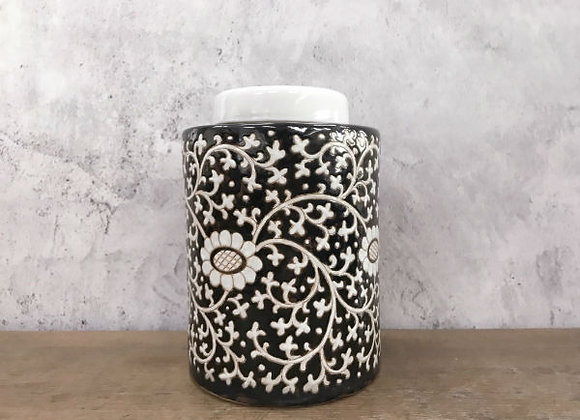 White floral vines tea caddy