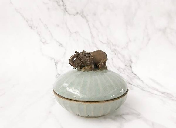 Celadon Trinket Container with Elephant Holder