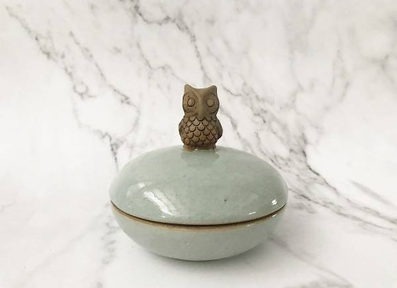 Celadon Trinket Container With Owl Holder