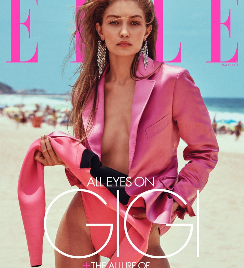 GIGI HADID IS A BEACH BABE FOR ELLE COVER STORY