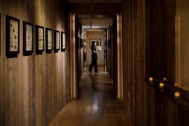 Spa corridor w/collection of 1930's hand-painted Pueblo designs
