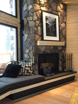 Fireplace in private cabin