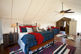 Canvas cabin bedroom