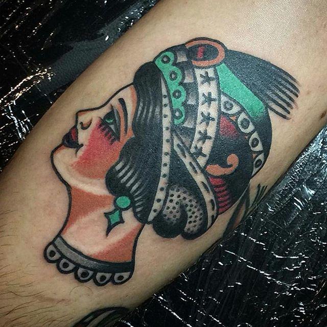 Gypsy head by _jordantattooer 👊_ #tradtattoos #americantraditional #traditionaltattoo #marvlerning