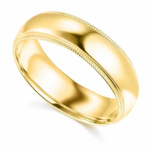 14k Yellow Gold 6-mm Standard-fit Milgrain and polished Wedding Band