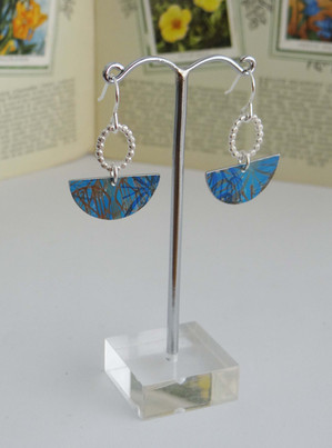 Silver & Blue Printed Aluminium Earrings £30