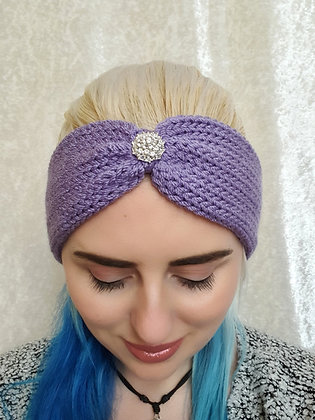 Lavender Knitted Head Band