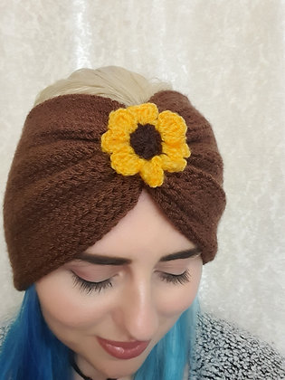 Sunflower Double Width Knitted Head Band