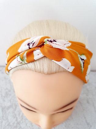 Orange Floral Elasticated Head Band