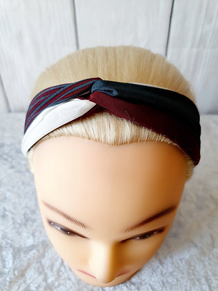 Burgundy Stripes Elasticated Head Band