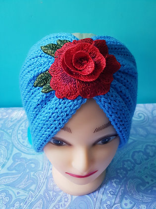 Aster Roses Double Width Knitted Head Band