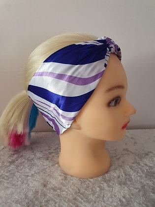 Mixed Purple Waves Silk Head Scarf