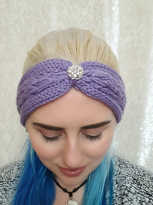 Lavender Plaited Knitted Ear Warmer