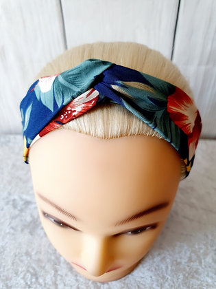 Tropical Floral on Navy Elasticated Head Band