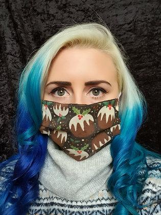 Christmas Pudding on Brown Face Mask