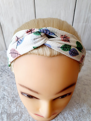 Leaves on White Elasticated Head Band
