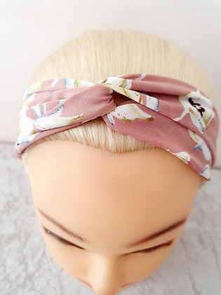Floral on Dusty Pink Elasticated Head Band