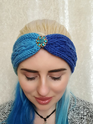 Blue Rainbow Pleat Knitted Head Band